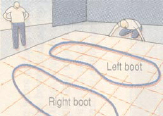 Illustration of an outlined boot prints on a gridded floor