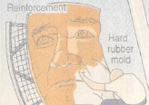 Illustration of a man working on a rubber mold of a face